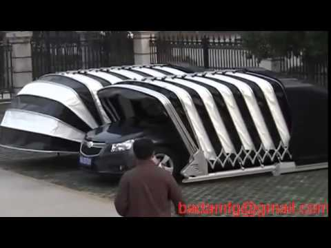 solar powered retractable car garage  YouTube