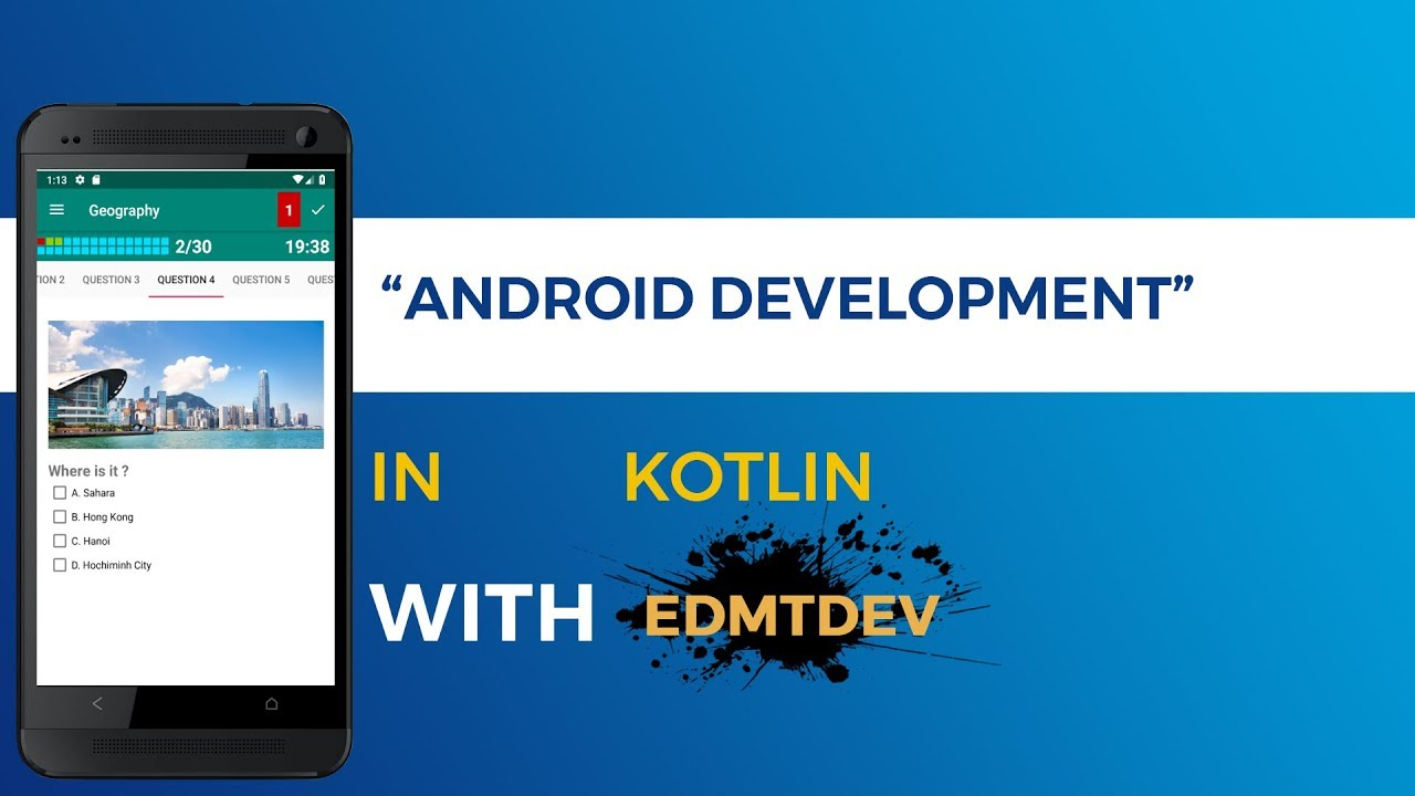 Kotlin Android Tutorial - Multichoices Quiz App Part 1 Make