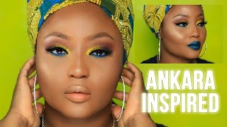 Summer Yellow Blue Ankara Inspired Makeup Tutorial | Youkeyy