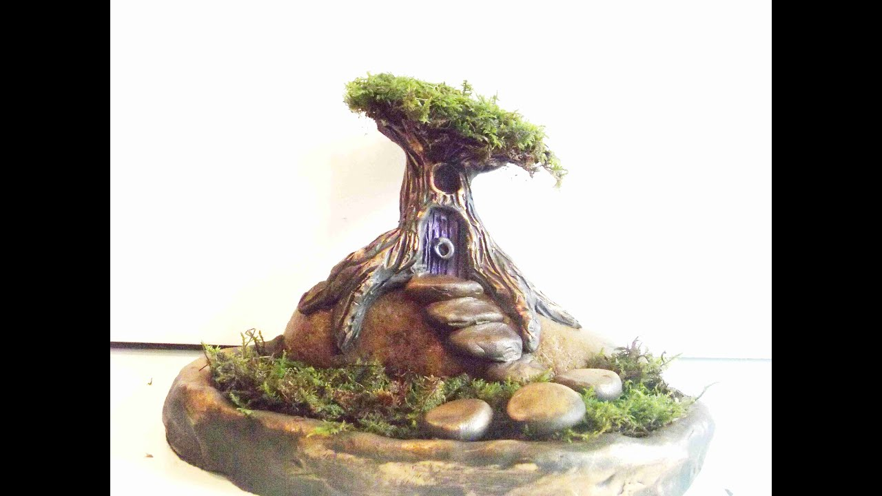 How To Sculpt A Fairy Tree House And Garden In Polymer