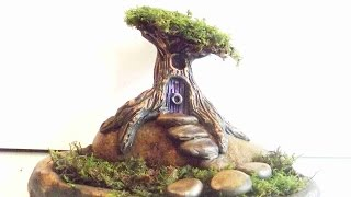 How To Sculpt A Fairy Tree House and Garden In Polymer Clay 4X Speed