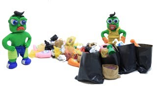Green Baby -In- GARBAGE CHALLENGE - Stop Motion Cartoons For Kids