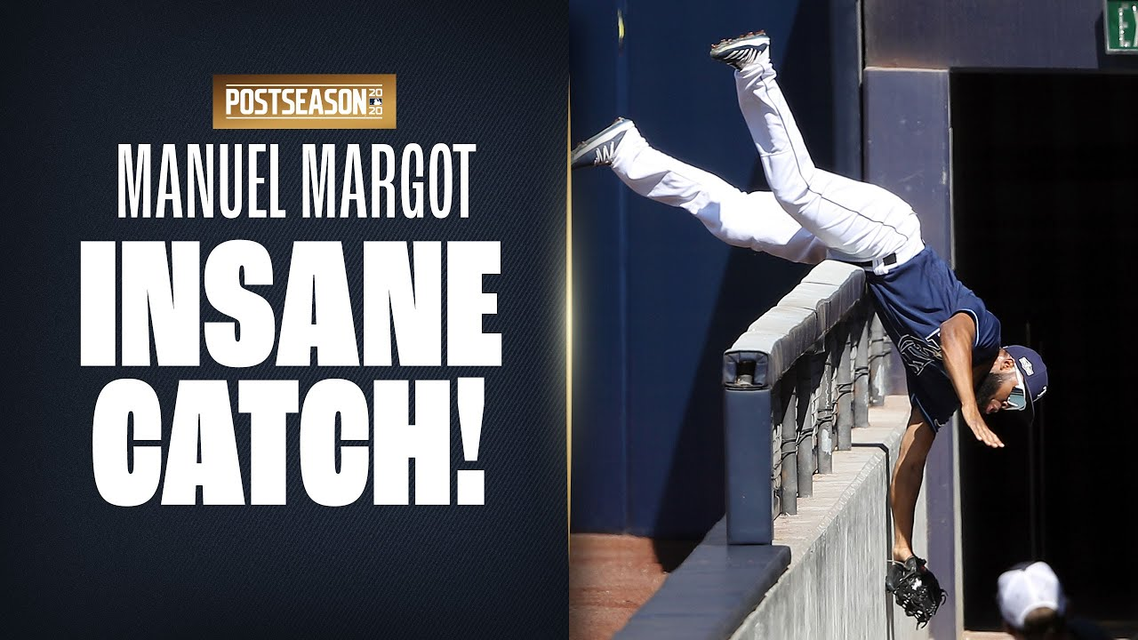 INCREDIBLE CATCH! Manuel Margot makes crazy grab to get Rays out of inning!