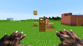 МАЙНКРАФТ 1 Волк и 3 Поросенка/MINECRAFT 1 WOLF vs 3 PIGS