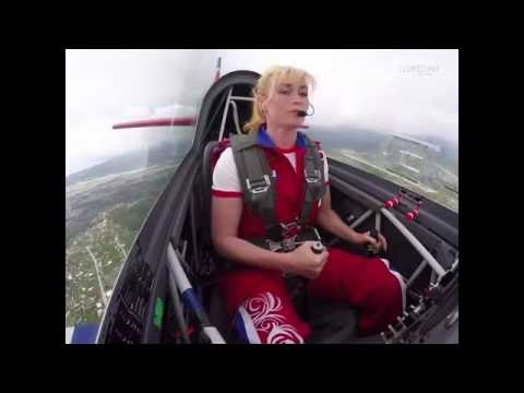 Cute Female aerobatic pilot Svelana Kapanina  live on the show The Olympic Sky