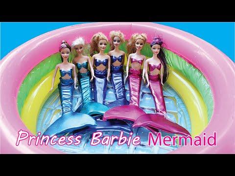 เจ้าหญิงบาร์บี้ ใส่ชุด นางเงือก เล่นน้ำ สระเป่าลม คลายร้อน barbie mermaid