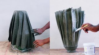 Amazing cement craft ideas for garden | how to make a flower pot cement | flower pot making at home