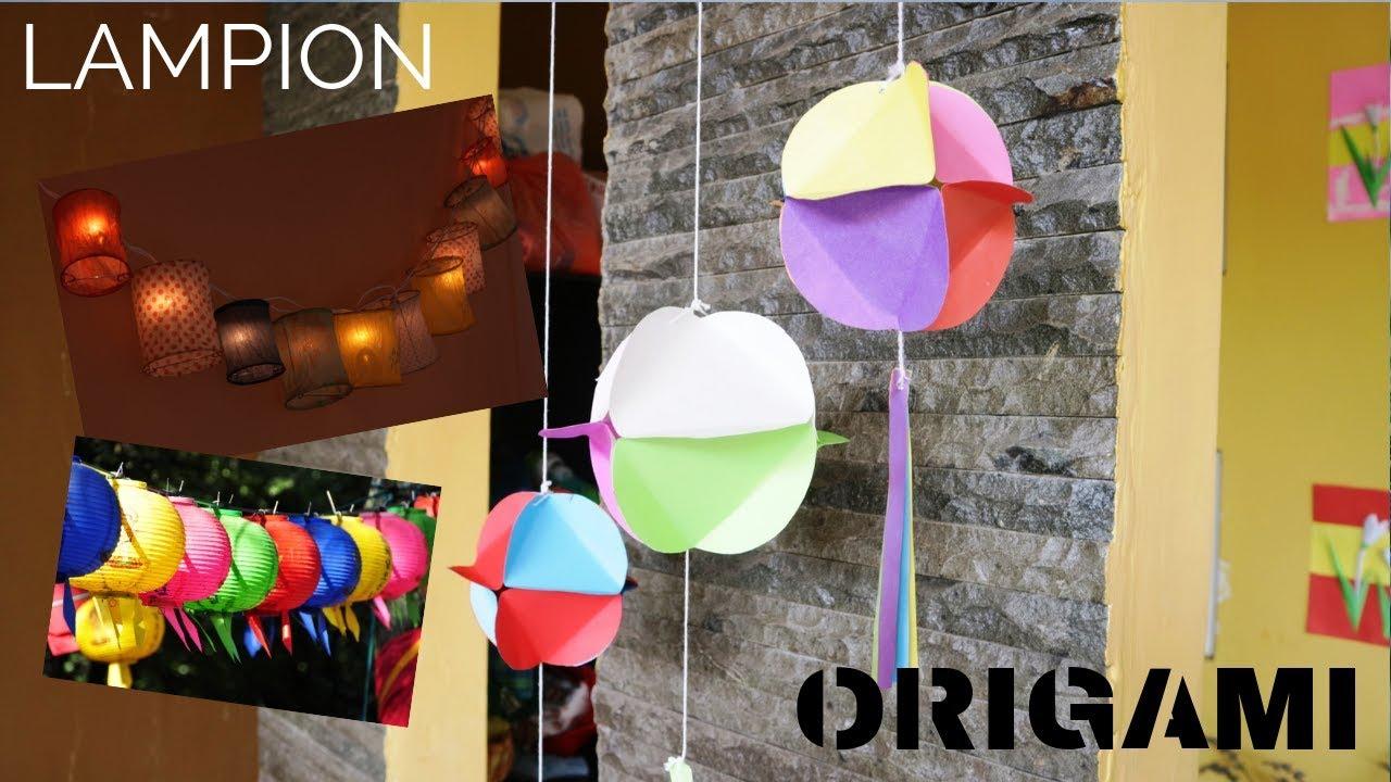 Cara Membuat Lampion Dari Kertas Origami Prakarya Tk Sd Youtube