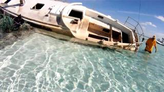 ckflyer explores abandoned sailboat at andros island in hd