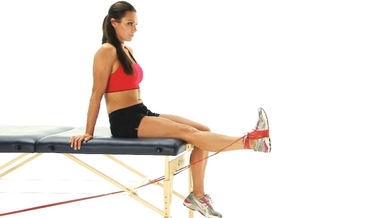 Knee exercise - Knee extension with band - YouTube