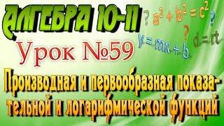 Производная и первообразная показательной и логарифмической функций. Алгебра 10-11 классы. 59 урок