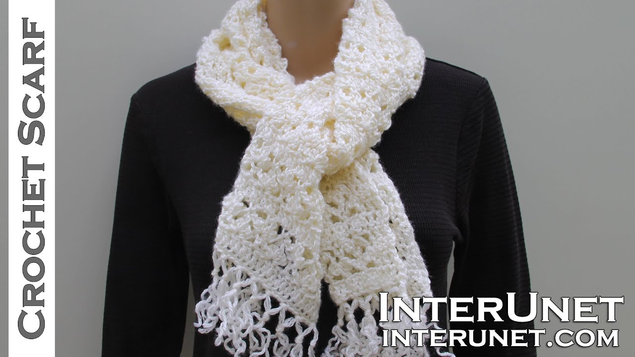 How to crochet a scarf - lace scarf crochet pattern - YouTube