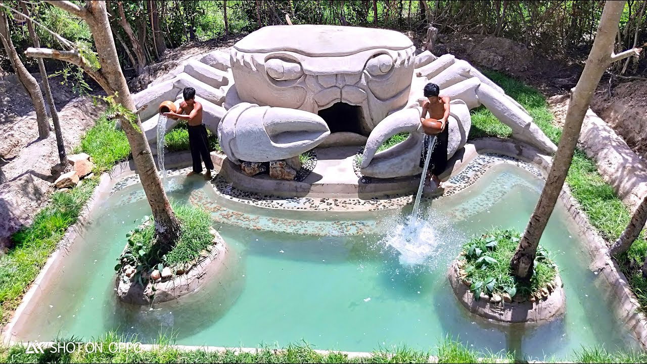 Build Beautiful Swimming pool & House Crab (Full Video)