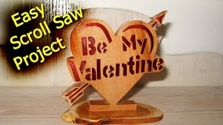 Make a Valentine Heart with Resin Inlay on the Scroll Saw - Woodworking // How-To