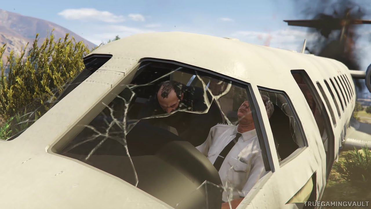 GTA 5  Plane Crash Landing  Mission  Shooting Down Private Jet  YouTube