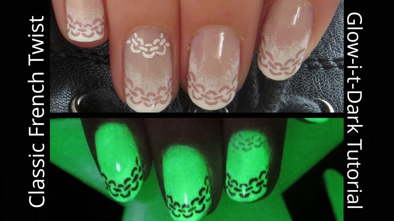 Classic French Ombre with a Glow-in-the-Dark Chain Twist Nail Art ...