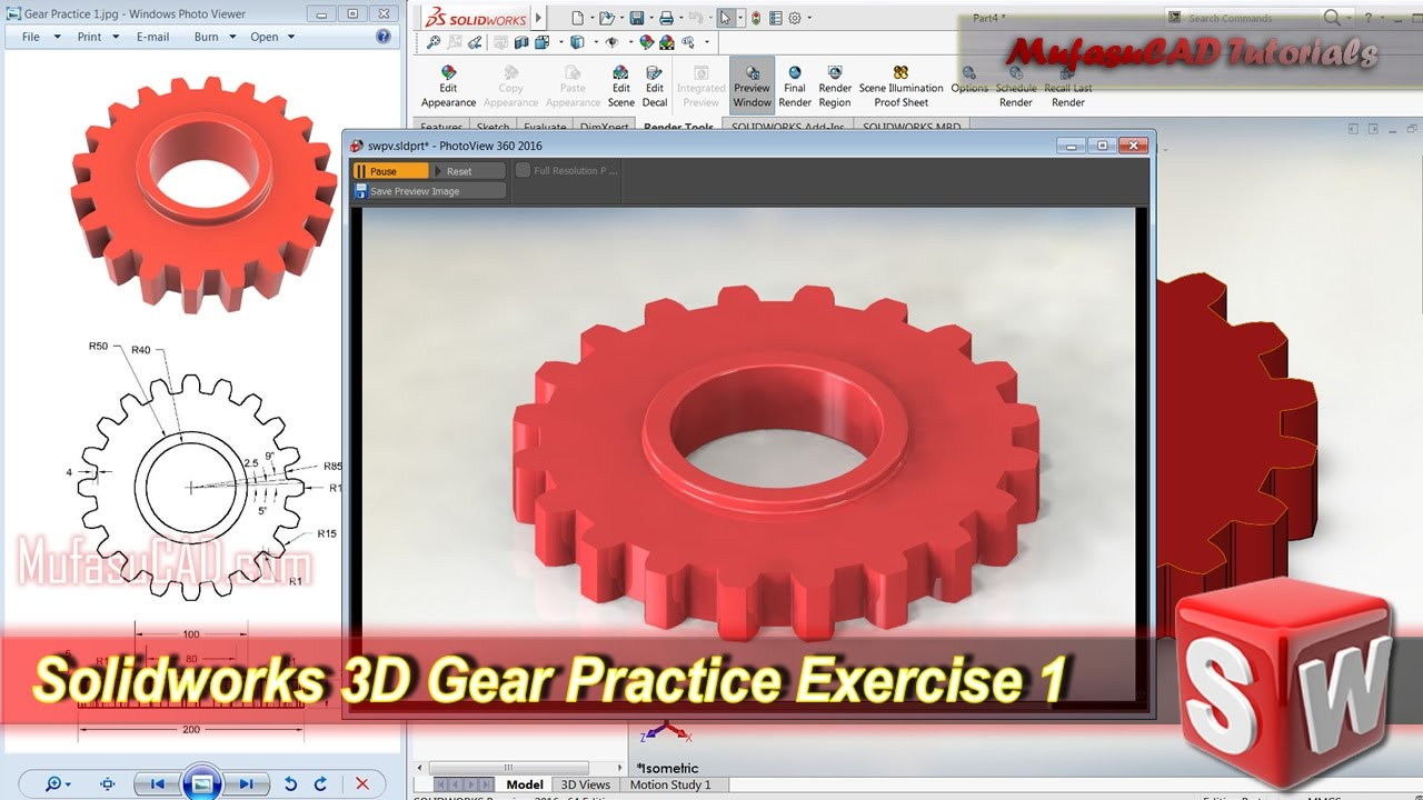 Solidworks 3D Modeling Gear Tutorial   Exercise 1
