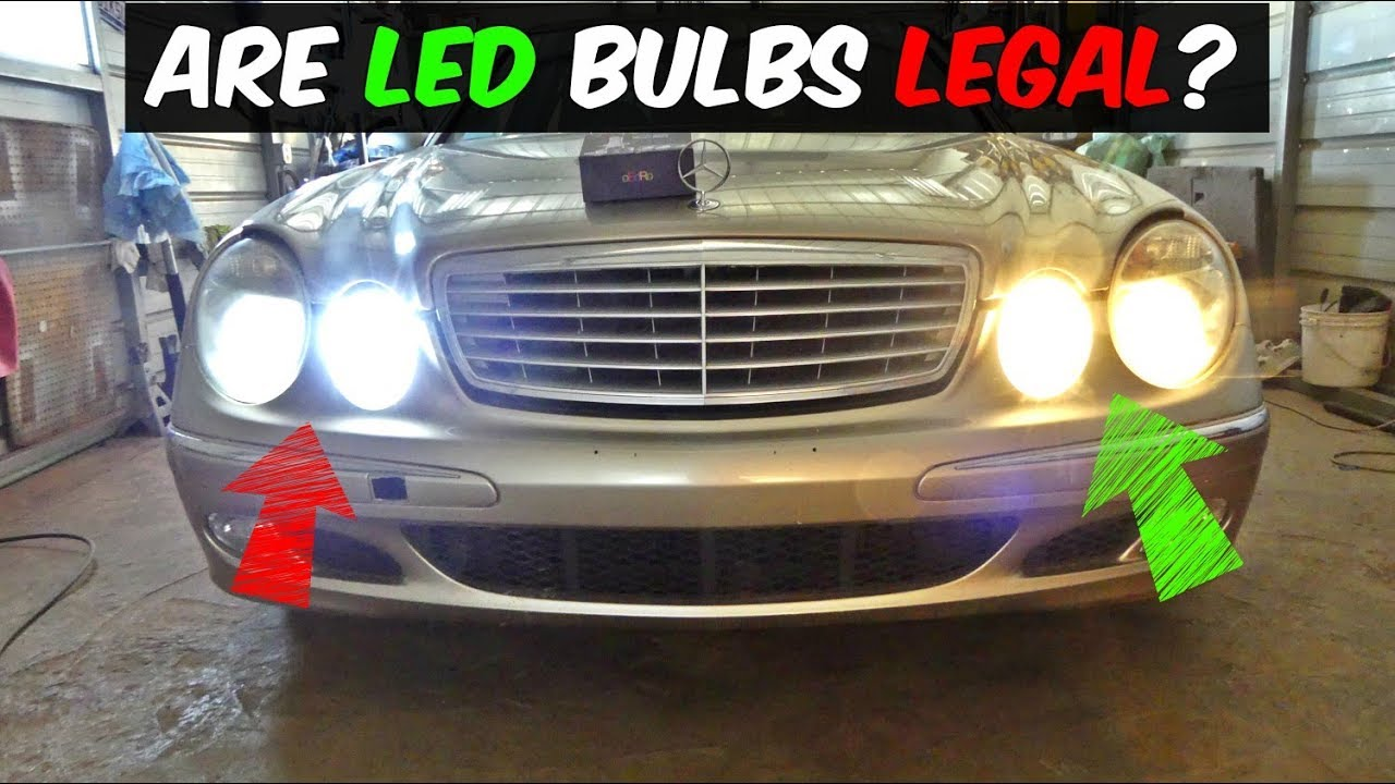 Brightest Led Headlights >> ARE LED HEADLIGHT BULBS LEGAL TO USE - YouTube