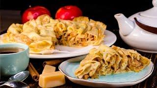 Блинный пирог с яблоками. Рецепт блинов с карамелизированными яблоками