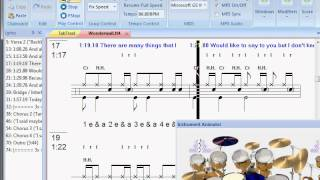 Oasis - Wonderwall drum lesson with tab sync