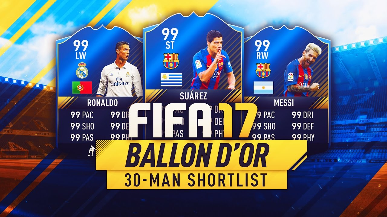 BALLON D'OR SHORTLIST 2016 - TEAM OF THE YEAR - FIFA 17 ULTIMATE TEAM