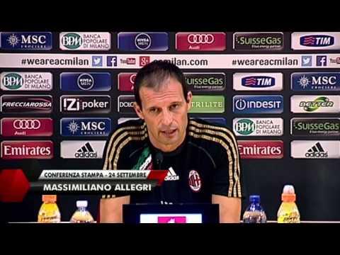AC Milan   Allegri: ''Balotelli ha messo la squadra in difficolta' (with subtitles)