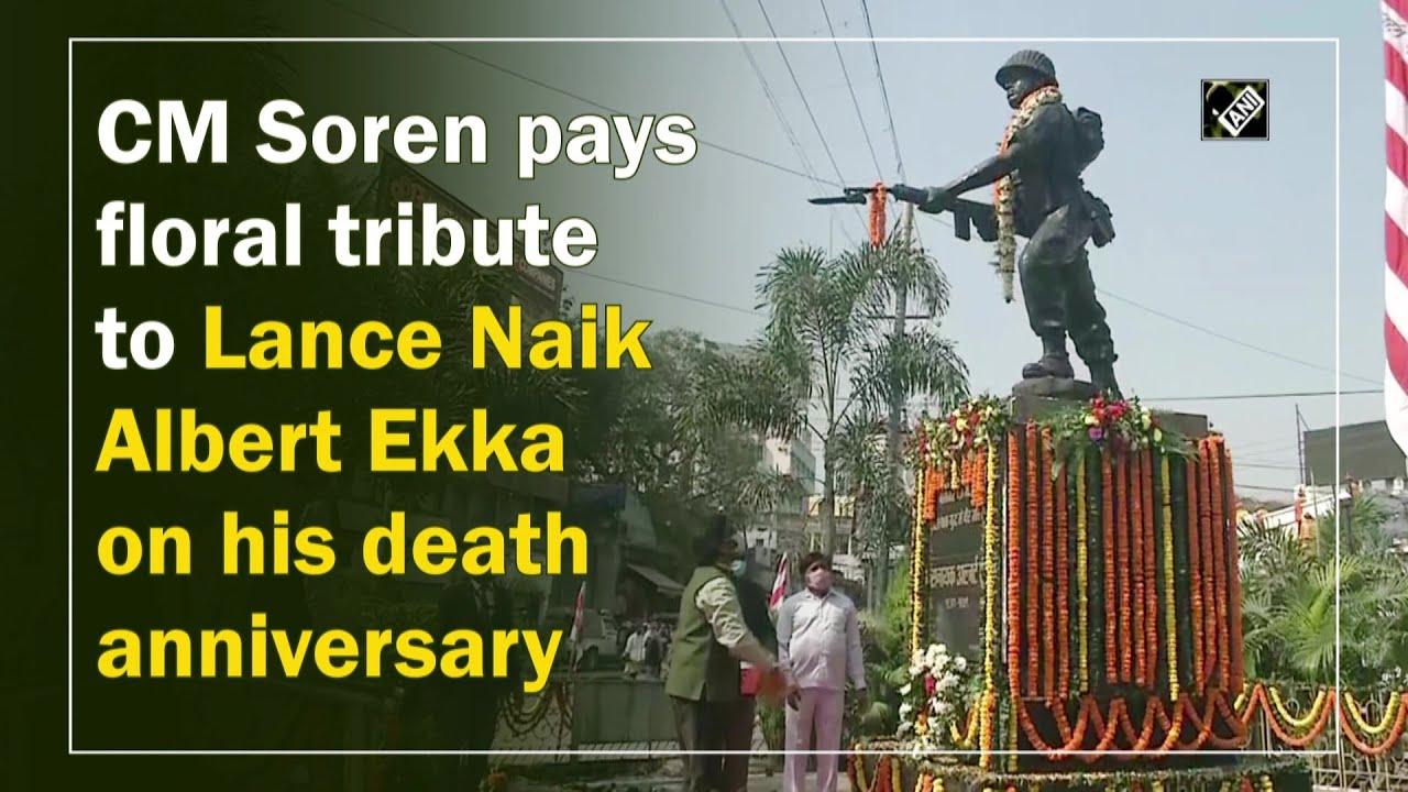 CM Soren pays floral tribute to Lance Naik Albert Ekka on his death anniversary