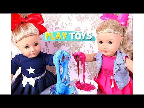 American Girl Doll JoJo Siwa DYI Slime Play - AG Dolls dress up & Bow Hair Style How to make Slime