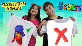 DESAFIO COLORINDO COM 3 CORES NA CAMISETA!!! ★ 3 colors of shirt challenge