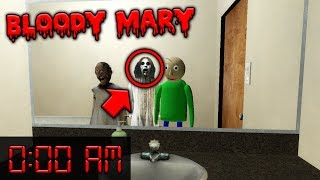 (GONE WRONG) Bloody Mary Challenge by Granny & Baldi at 3:00 AM! (Bloody Mary in Granny Horror Game)