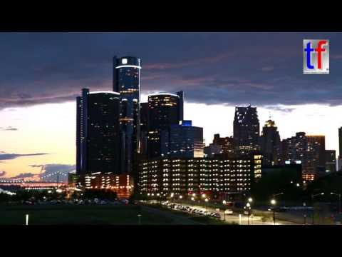 Windsor, Ontario ( CANADA ) & Detroit, MI ( USA ) Skyline Sunset, 08/21/2016.
