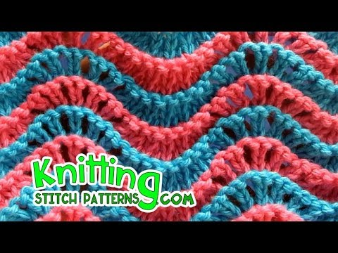 Two Color Knitting Feather And Fan Youtube