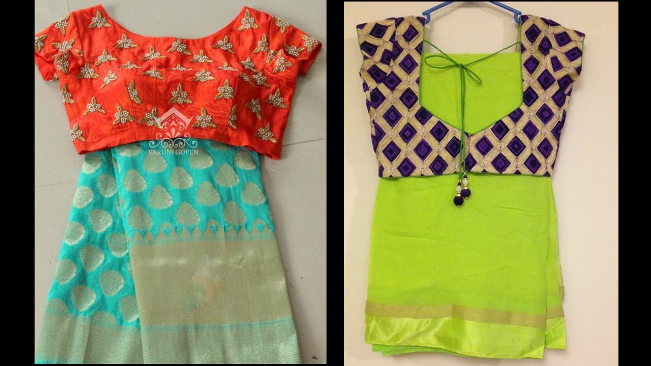 Latest Mix And Match Designer Contrast Blouse With Saree