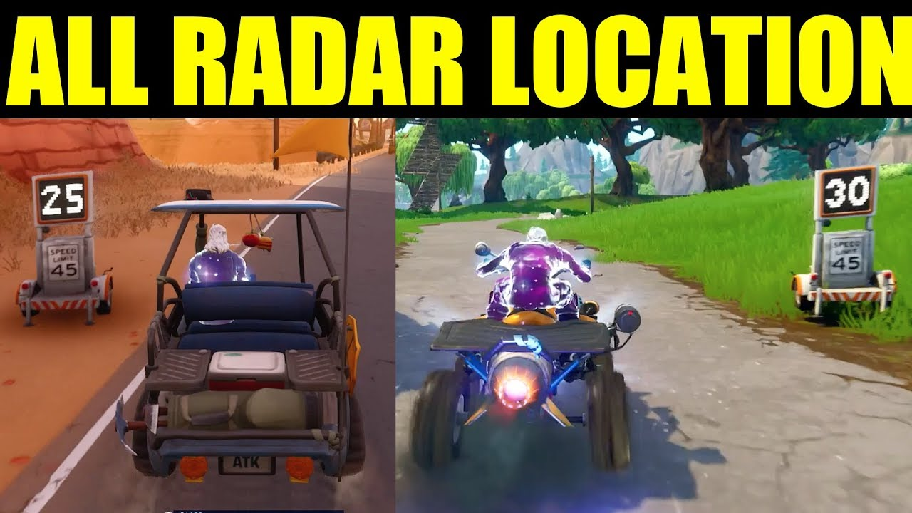 fortnite all 5 radar sign locations week 5 challenge record a speed of 27 or more - speed 27 or more fortnite