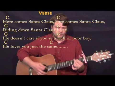 Here Comes Santa Claus (Elvis) Guitar Lesson Chord Chart - Capo 2nd