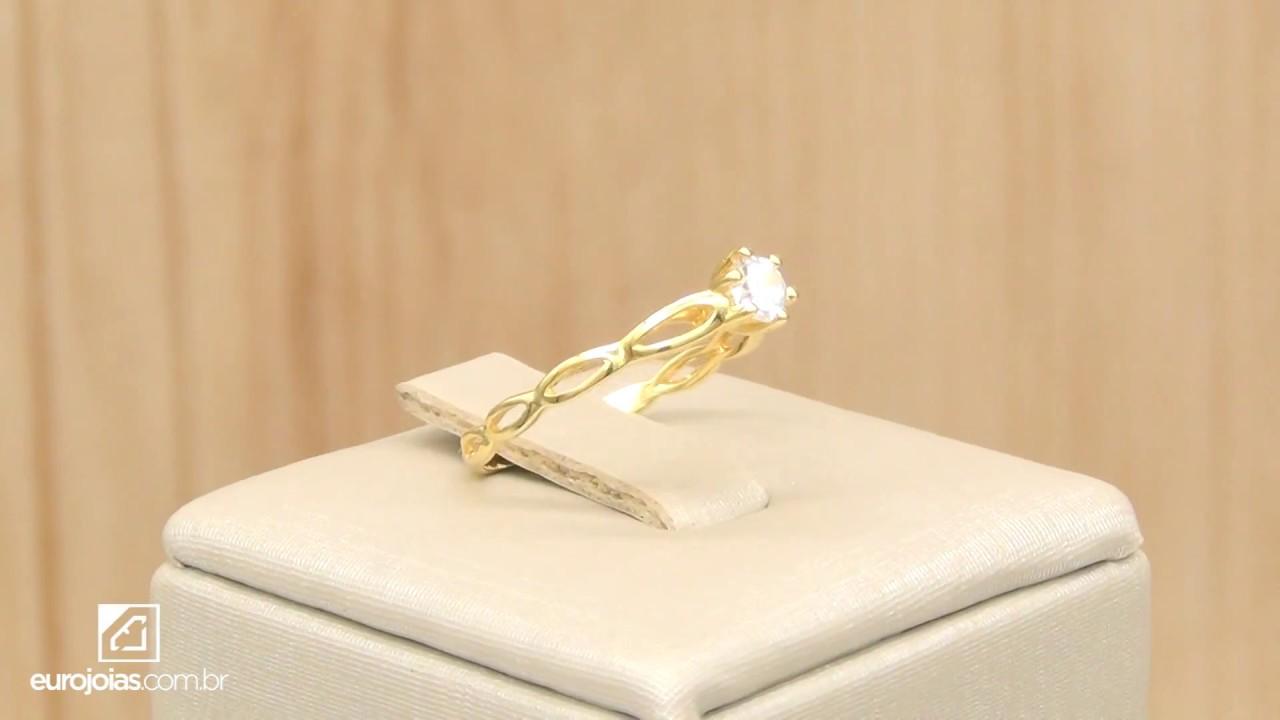 523ab890a5c94 Anel Solitário com Diamante de 25 Pontos