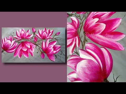 SIMPLE Abstract Flower Painting Techniques for Beginners Large Canvas – Painting Lessons – Day #32