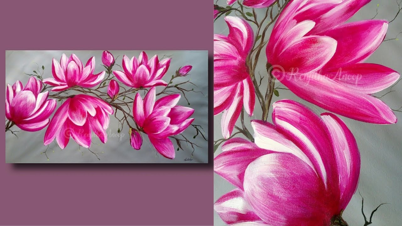 Simple Abstract Flower Painting Techniques For Beginners Large Canvas Painting Lessons Day 32 Youtube