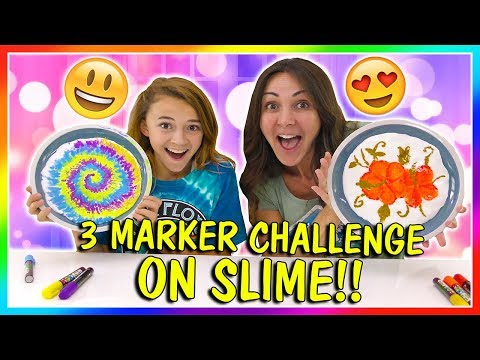 3 MARKER CHALLENGE ON SLIME! | We Are The Davises