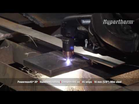Powermax45 XP handheld cutting 16mm mild steel