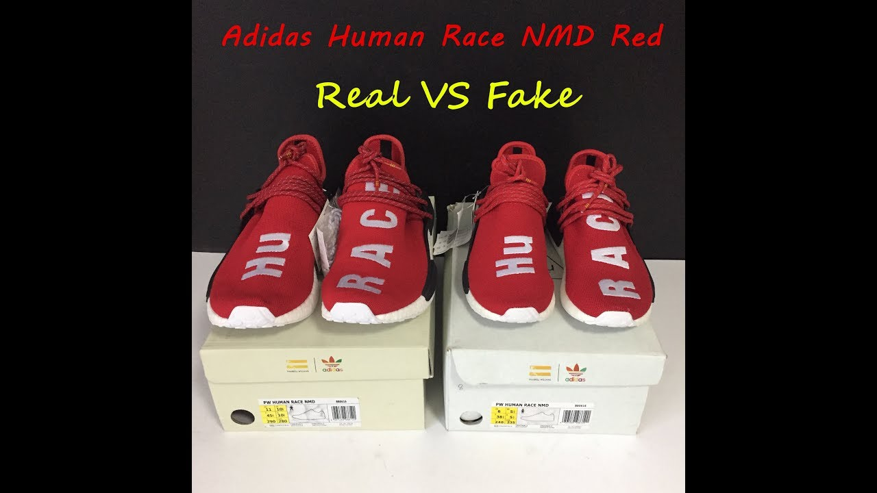 Adidas Human Race NMD Red Real vs Fake Comparison Review - YouTube 8620e028c