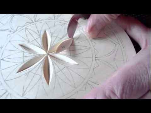 My chip carving inch flat plate rosette youtube