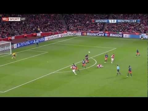 "Lukas ""Poldi"" Podolski score the 2:0 for Arsenal in Champions League - Arsenal vs. Montpellier"
