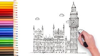Learn how to draw big Ben, using ruler, video for kids to learn drawing and enjoy art, 儿童简笔画教程