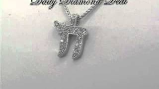 14K White Gold Hebrew Chai Diamond Pendant 0.50 CT