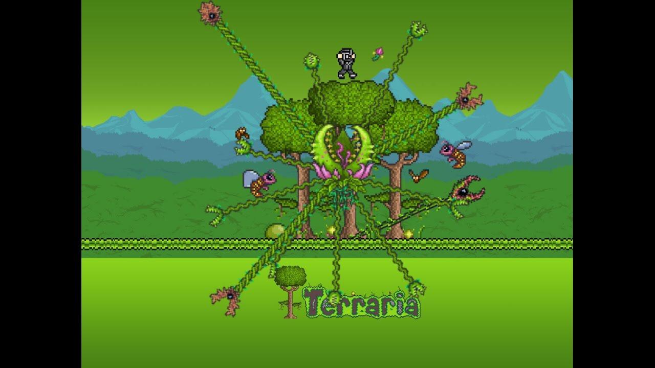 Terraria Enraged Plantera No Armour No Buffs Pre Plantera Gear Youtube