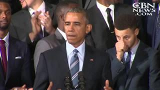 美國總統歐巴馬的幽默演講 2014 15 nba冠軍 金州勇士 中字