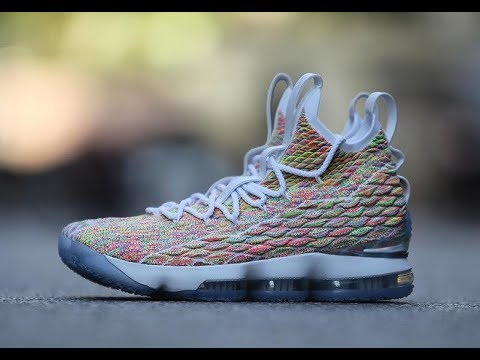 401c2ae7df4c9 NIKE LEBRON 15 FRUITY PEBBLES CEREAL SNEAKER REVIEW - YouTube