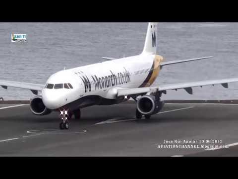 Aterrissagens E Decolagens De Aviões Ao Extremo Potência Máxima Aeroporto Madeira