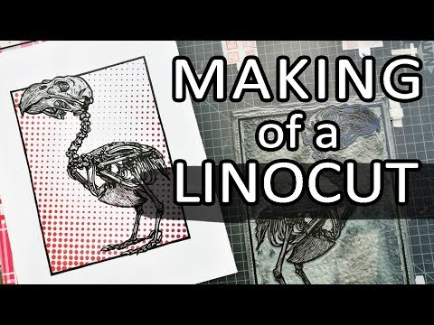 Crossbill: Reduction Linocut Step by Step